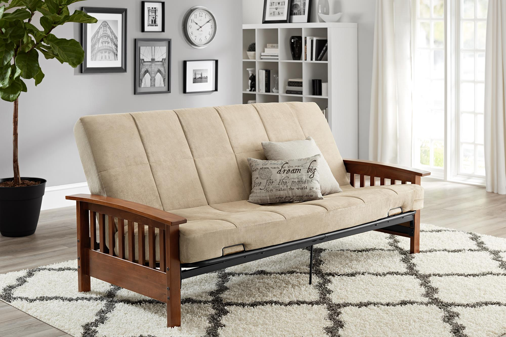 Convertible Small Single Sleeper Mission Wood Arm Futon Full Couch ...