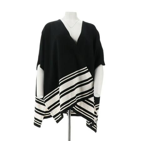 Denim & Co Active Knit Poncho Stripe (Denim Poncho)