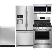 Frigidaire 4-Piece Smudge-Proof Stainless Steel Package, FGHF2366PF 36 French-Door Refrigerator, FGGF3035RF 30 Gas Range, FGID2466QF 24 Fully Integrated Dishwasher and FGMV175QF 30 Over-the-Range