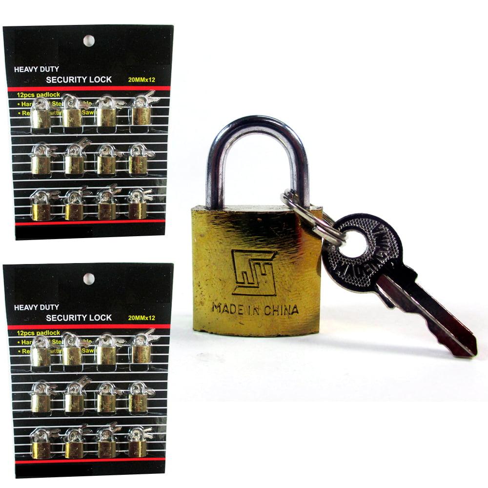 Lot Of 24 Padlock Small Brass 20MM Mini Tiny Lock Keyed Box Jewelry Drawer 2 Key