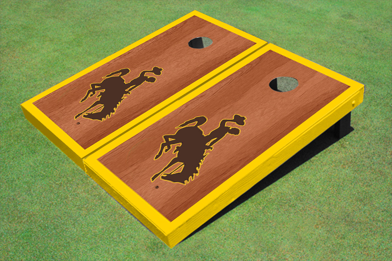 University Of Wyoming Cowboys Gold Rosewood Matching Borders Cornhole Boards by All American Tailgate