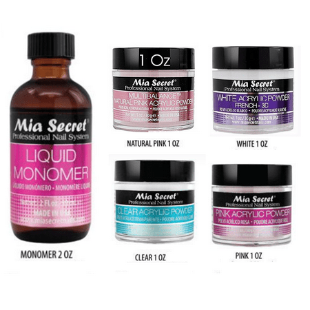 Liquid Monomer 2 oz &  1 oz acrylic powder clear, pink, White 3d, natural pink (Mulitbalance) 4 shade Mia Secret - Professional Acrylic Nail System - MADE IN USA! + FREE Temporary Body Tattoo (Acrylic Powder And Monomer)