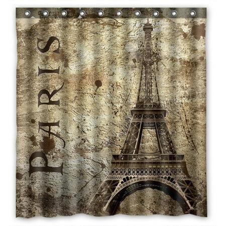 GCKG Paris Eiffel Tower Bathroom Shower Curtain, Shower Rings Included 100% Polyester Waterproof Shower Curtain 66x72 Inches (Ring Tower Eiffel)