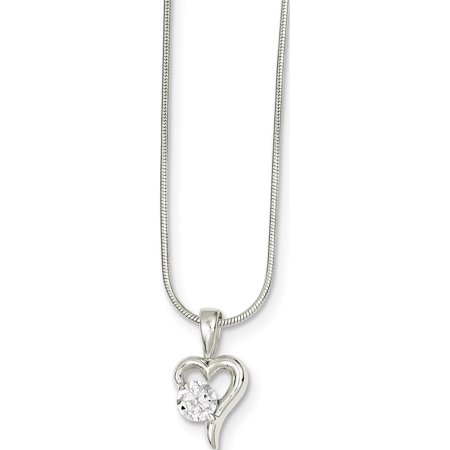 925 Sterling Silver CZ & Chain Pendant / Charm - image 2 de 2
