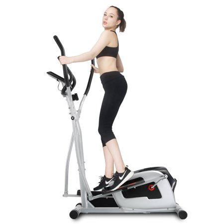 CYRASTAL Magnetic Elliptical Machine Smooth Quiet Driven Elliptical Trainer w/ Adjustable Air Resistance System Cardio Fitness Home Gym Equipment Exercise Fitness Workout Machine w/ (Best Cardio Workout At Gym)