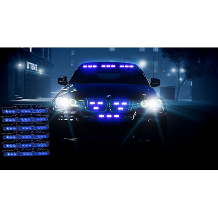 Emergency Vehicle Equipment - Zone Tech Bright Blue 54x LED Emergency Service Vehicle Deck Grill Warning Light - 1 set