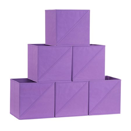 Household Essentials Diagonal Pull Collapsible Fabric Cube Open Storage Cube, 6pk, Purple ()