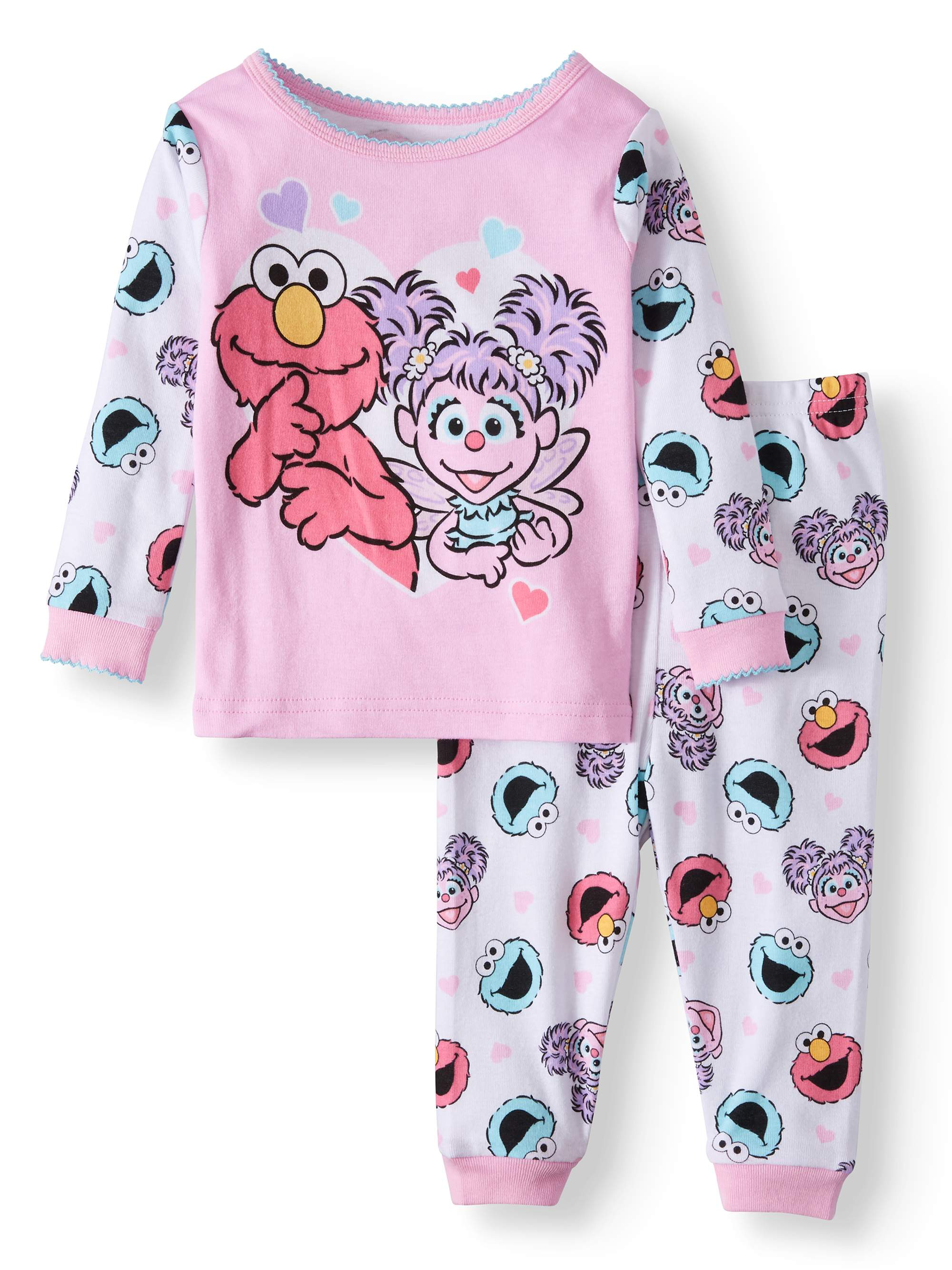 Sesame Street Baby Girls  Cotton Tight Fit Pajamas a767c3c87