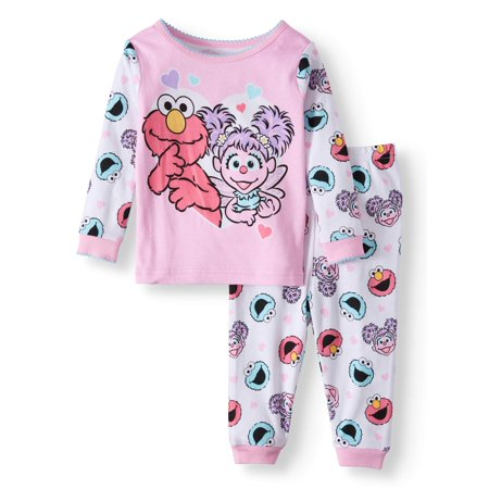 Sesame Street Cotton Tight Fit Pajamas, 2-piece Set (Baby Girls)