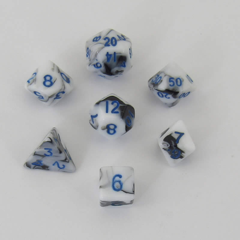 Black and White Marble Colored Poly Dice with Blue Numbers 10mm (3/8in) 7-Dice Set
