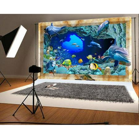 HelloDecor Polyster 5x7ft Backdrop Photography Background Playful Dolphins Wonderful Undersea World Sea Animals Artistic Scenery for Sweet Kids Baby Portrait Backdrop Photo Studio - Undersea Backdrop
