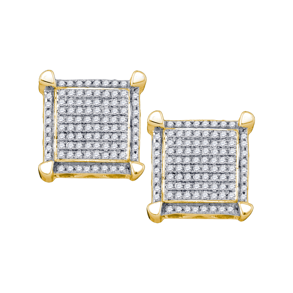 Solid 10k Yellow Gold Round White Diamond Square Shaped Micro Pave Set Stud Earrings (1/3 cttw)
