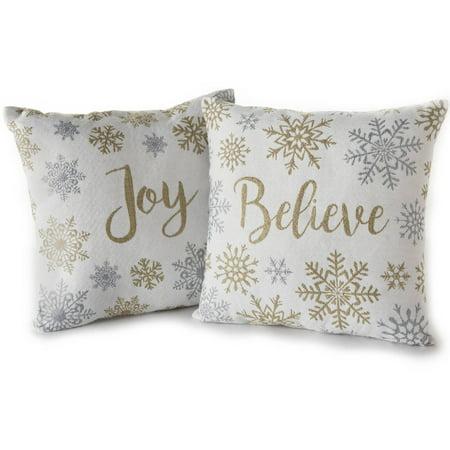 Joy Throw Pillows : Holiday Time Believe & Joy Decorative Throw Pillows, 2pk - Walmart.com