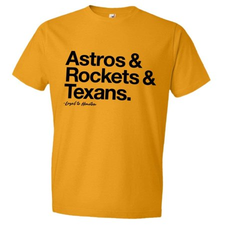 PleaseMeTees™ Mens Unisex Loyal to Houston Texas Astros Rockets Texans Sports Ball T-Shirt Tee