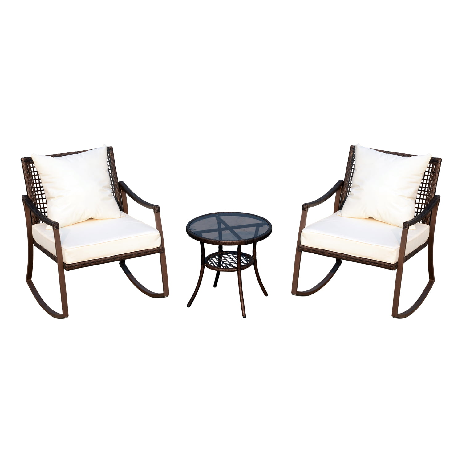 outsunny 3 piece outdoor outdoor pe rattan wicker patio rocking chair set with accent table. Black Bedroom Furniture Sets. Home Design Ideas