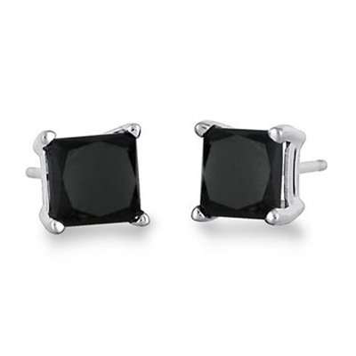 b22080300 0.50 Carat Color-Enhanced Black Diamond Stud Earrings in Sterling Silver