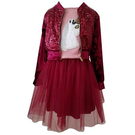 Little Girl 3 Pieces Set Jacket Top Tulle Skirt Holiday Clothing Dress Set Burgundy 4 JKS 2151 BNY Corner