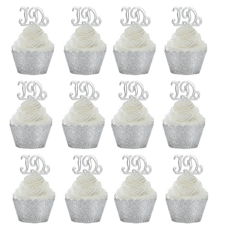 12pk i do ring wedding bridal shower cupcake toppers w silver glitter wrappers