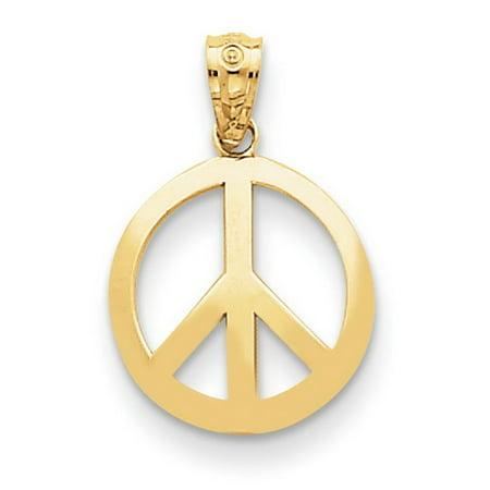 14k Yellow Gold Polished Peace Sign Circle Pendant