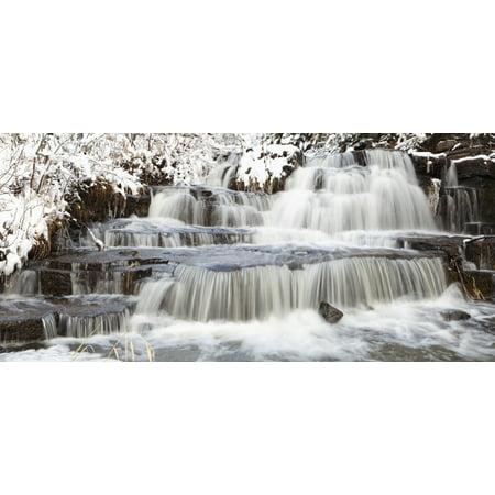 Waterfalls With Fresh Snow Thunder Bay Ontario Canada Canvas Art   Susan Dykstra  Design Pics  44 X 20