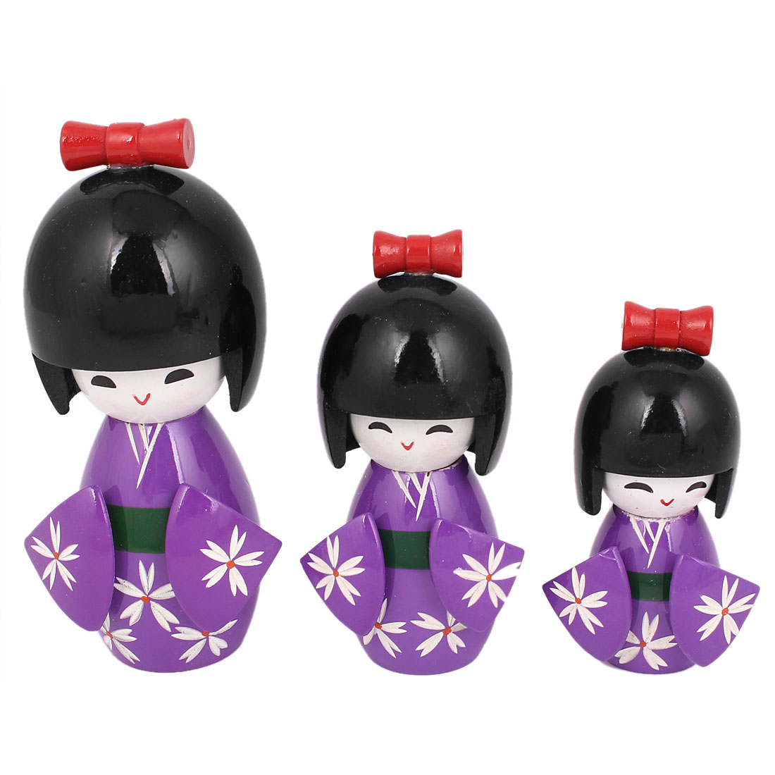 3Pcs Purple Black Wooden Japanese Doll Desk Decoration