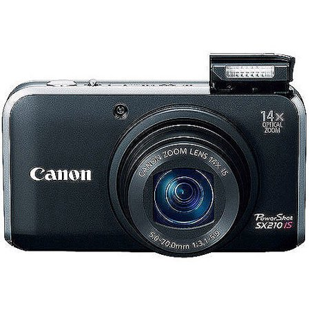 Canon PowerShot SX210-IS Black 14 1MP Digital Camera with 14x Optical Zoom,  3