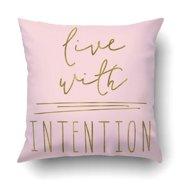 BPBOP Intentional Quote Live With Intention Quote Cute Quote Art Quote Pillowcase Throw Pillow Cover Case 18x18 inches
