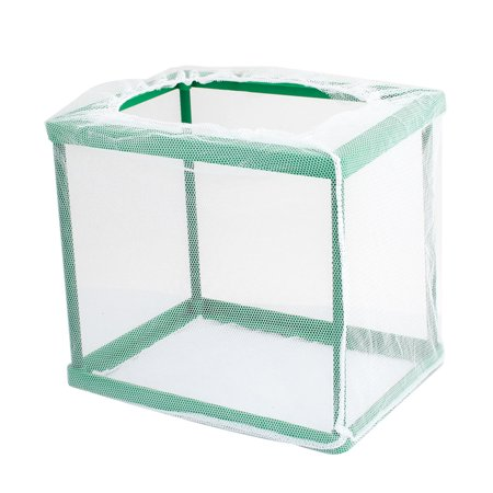 Unique Bargains Detachable Rectangle Shaped White Net Green Frame Aquarium Breeder