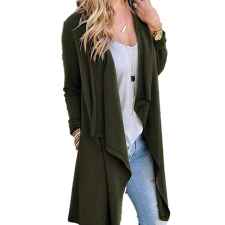 Open Trench - Women's Solid Knitted Open Front Long Trench Coat Cardigan