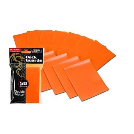 Card Protector Sleeves (100 Premium Orange Double Matte Deck Guard Sleeve Protectors for Gaming Cards Like Magic The Gathering MTG, Pokemon, YU-GI-OH!, More. by, 100.., By BCW)