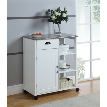 Brody White & Marble Wood Contemporary Kitchen Island Display Cabinet With Storage Drawer, Door &