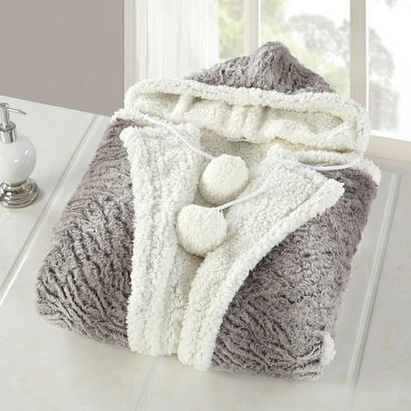 Comfy Hoodie Set - Chic Home Aira Snuggle Hoodie Wearable Blanket, Gray