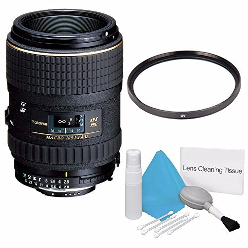Tokina 100mm f/2.8 AT-X M100 AF Pro D Macro Autofocus Lens for Nikon AF-D (International Model) No Warranty+Deluxe Cleaning Kit + 55mm UV Filter Bundle 1