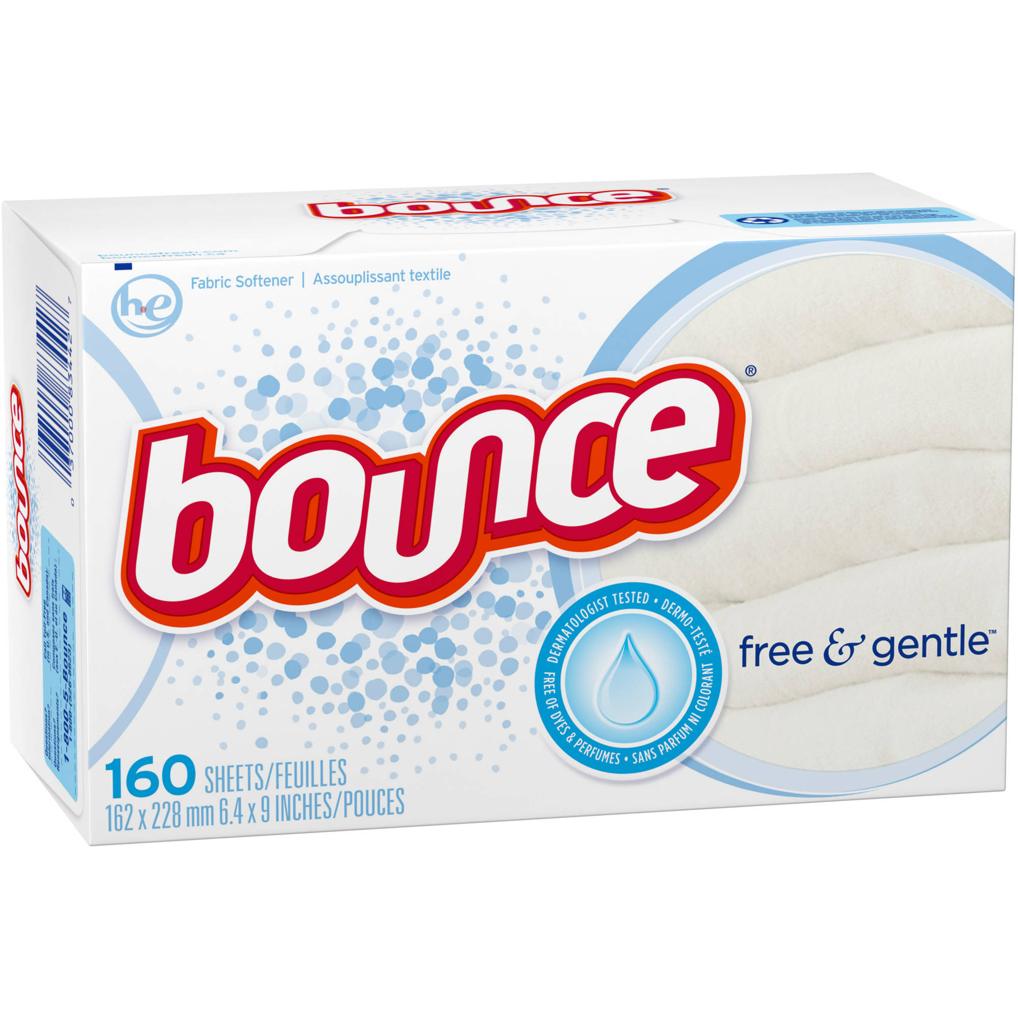 Bounce Free & Gentle Fabric Softener Dryer Sheets, 160 count