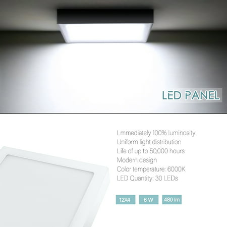 6W/12W/18W/24W Compact Size Square Shape LED Panel Light 85-265V Cold white (MBD11L6W) 6W ()