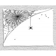 Spider Web Tapestry, Corner Cobweb with a Hanging Insect Hand Drawn Style Gothic Design with Flies, Wall Hanging for Bedroom Living Room Dorm Decor, 60W X 40L Inches, Black White, by Ambesonne