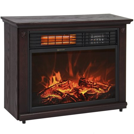 Large Room Infrared Quartz Electric Fireplace Heater Dark Walnut Finish W Remote