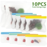 10PCS Reusable Silicone Food Bag Zero Waste Ziplock Food Storage Bag Refrigerator Fresh Bags