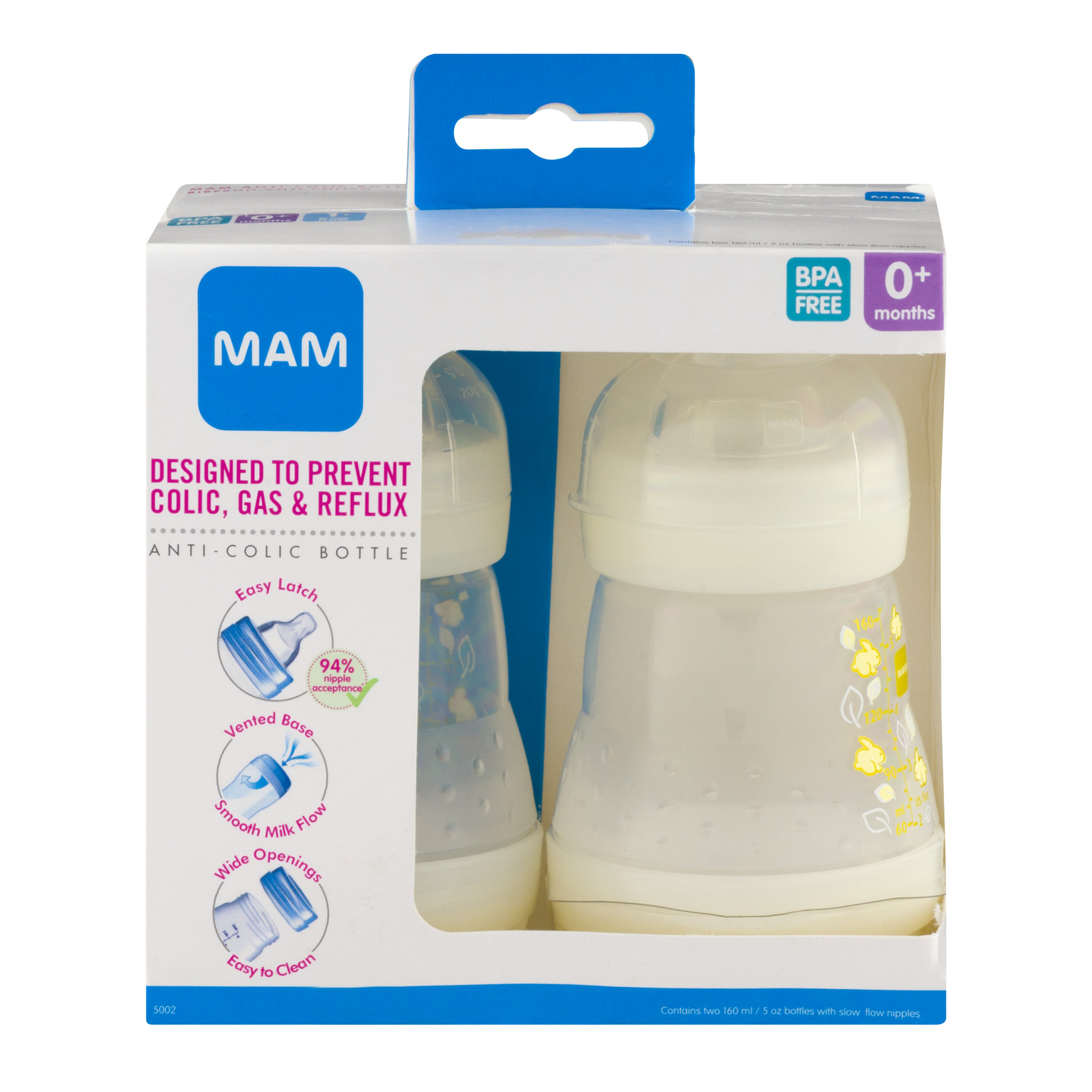 MAM Anti-Colic Bottle, COLORS MAY VARY, 5 oz, 2-Count