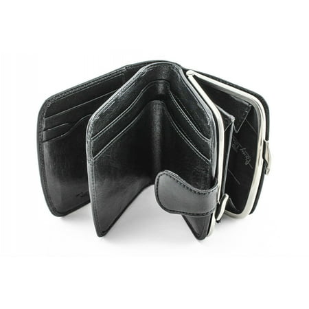 TONY PEROTTI WOMENS ITALIAN BULL LEATHER FRAMED COIN PURSE AND CREDIT CARD WALLET WITH ID WINDOW ()