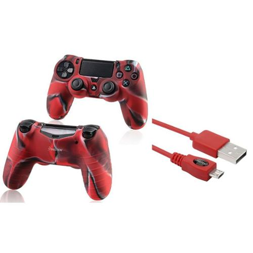 ps4 controller skin by Insten Red 10FT Micro USB Charger Cable+Camouflage Navy Red Skin Case Cover for Sony PS4 Playstation 4 (2-in-1 Accessory Bundle)