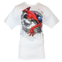 Spider-Man (Marvel Comics) Mens T-Shirt - Crouched Spidey In Splattery Circle
