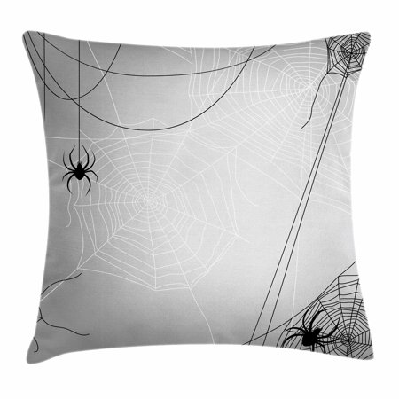 Halloween Inspired Names (Spider Web Throw Pillow Cushion Cover, Spiders Hanging from Webs Halloween Inspired Design Dangerous Cartoon Icon, Decorative Square Accent Pillow Case, 18 X 18 Inches, Grey Black White, by)