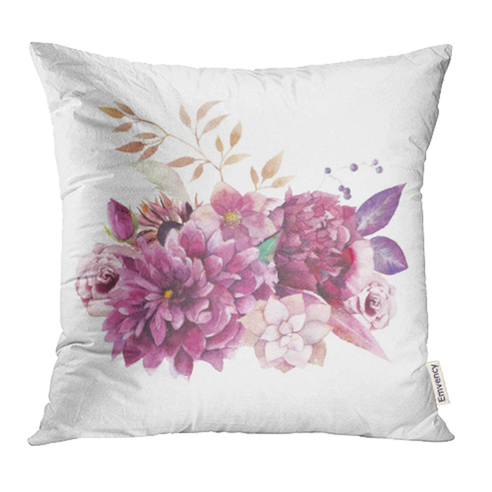 ARHOME Watercolor Vintage Floral Composition Purple and Pink Bouquet with Succulent Pillowcase Cushion Cover 18x18 inch