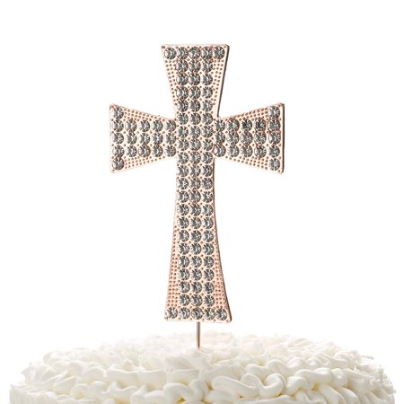 Cross Cake Topper, First Communion, Religious Baptism, Christening, Child Dedication Keepsake Decoration (Rose Gold)
