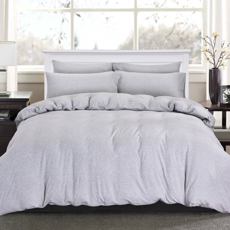 514924985 PURE ERA Duvet Cover Set - Ultra Soft Heather Jersey Knit Cotton Home  Beddings Solid Light Gray Twin Size