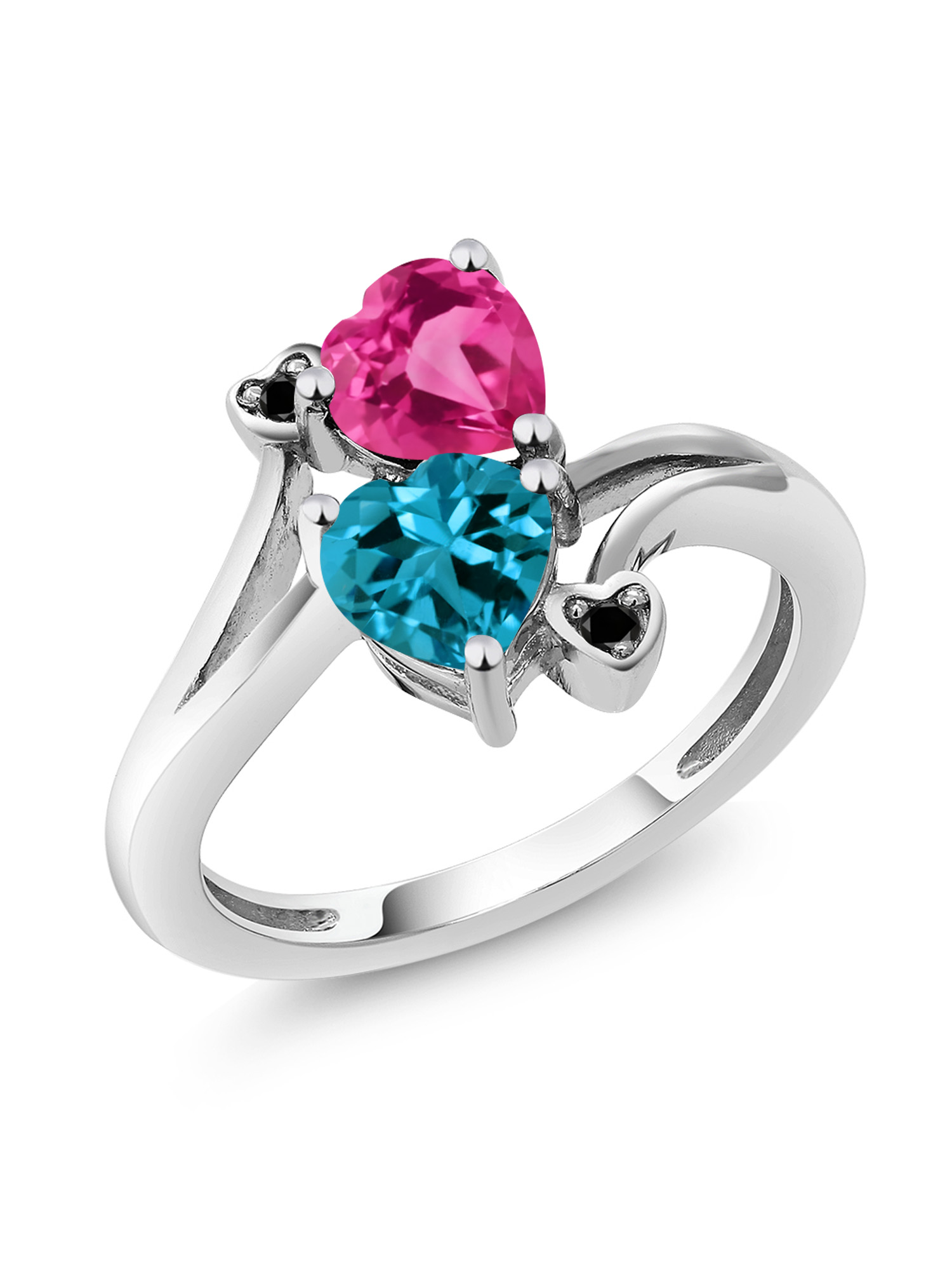 1.78 Ct Heart Shape London Blue Topaz Pink Created Sapphire 10K White Gold Ring by