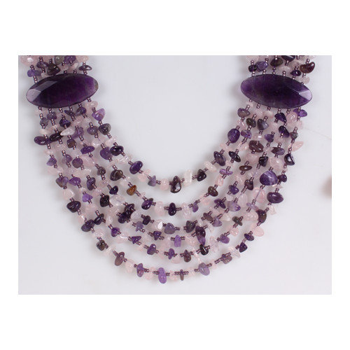 Amour Agate, Amethyst and Rose Quartz Chips Necklace in Purple
