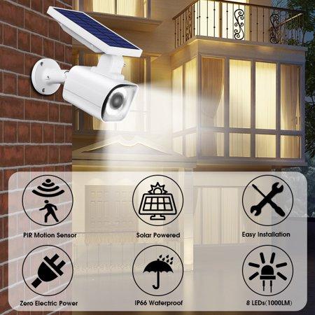 Ultra Bright Solar Power LED Wall Light Fake Security Camera Wall Lamp Outdoor Yard Garden Motion Sensor Light