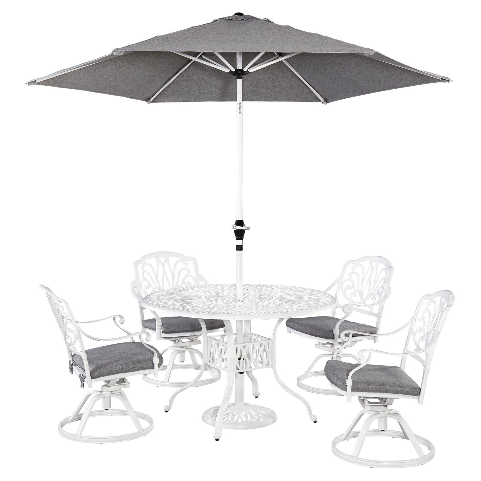 """Home Styles Floral Blossom White Outdoor 5pc Dining Set with 48"""" Table and 4 Swivel Chairs"""